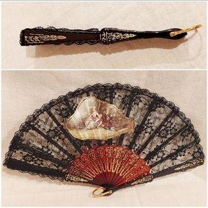 Vintage Black Lace Folding Fan